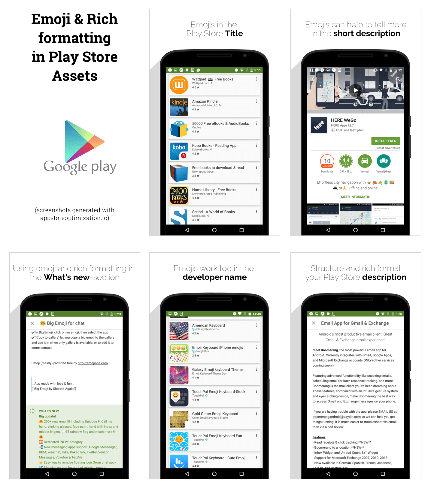 emojis & rich formatting in play stores assets