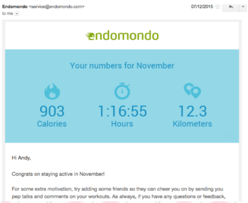 Endomondo delivers monthly digest emails to remind and encourage users to keep tracking their workouts