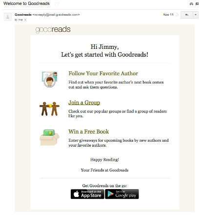 Goodreads compliments its in-app onboarding with a welcome email