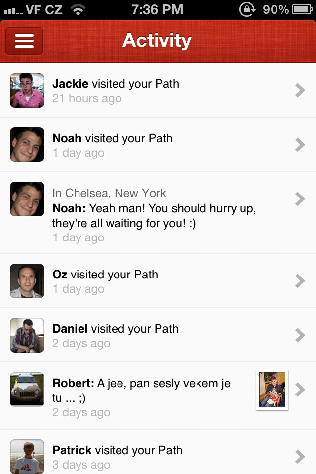 Path's in-app activity feed