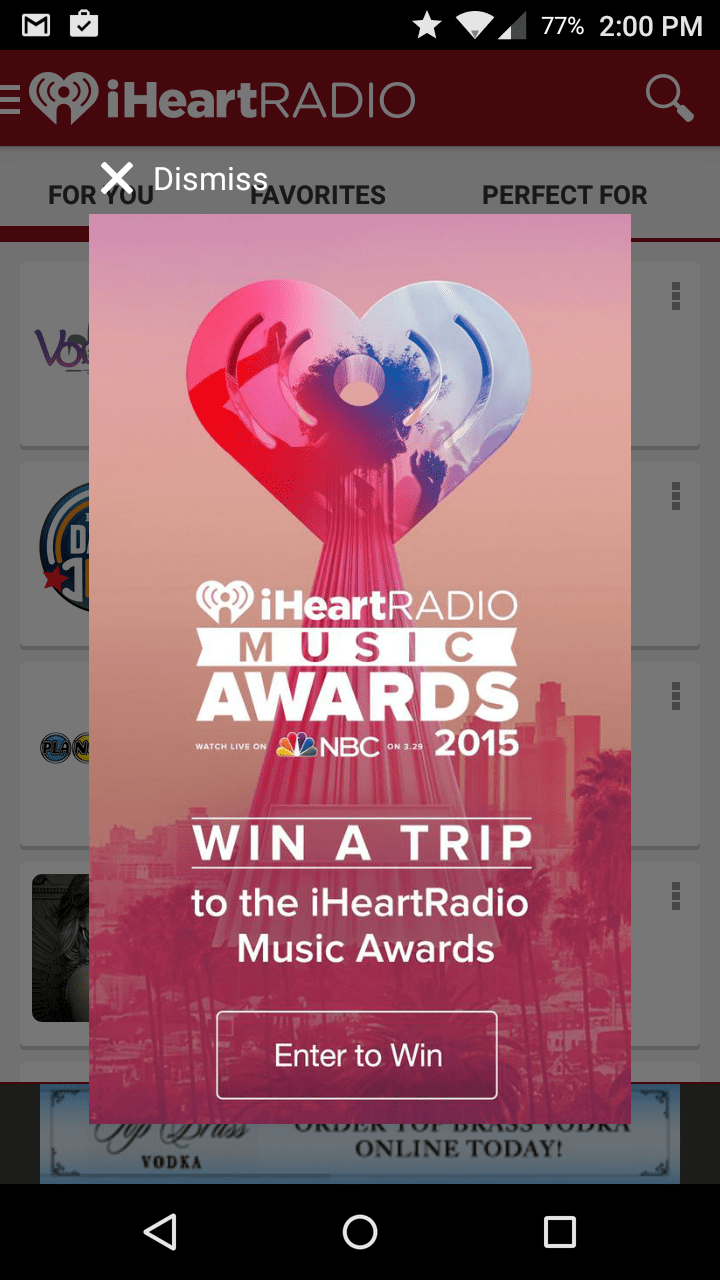 iHeartRadio uses a modal in-app message to run a promotion