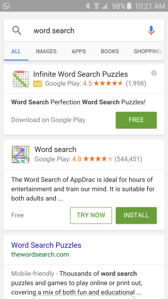 word search google results page