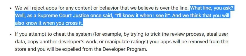 Excerpt from Apple's developer review guidelines -min
