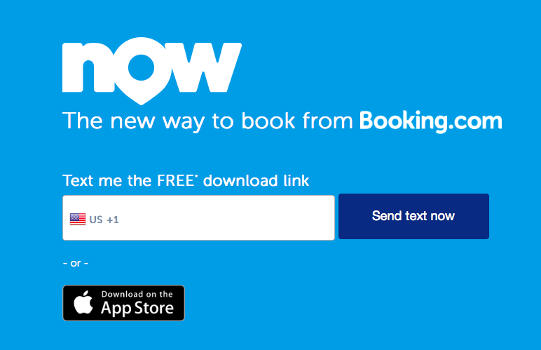 booking.com text me download link