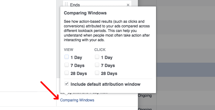 where you can set up custom attribution windows in FB