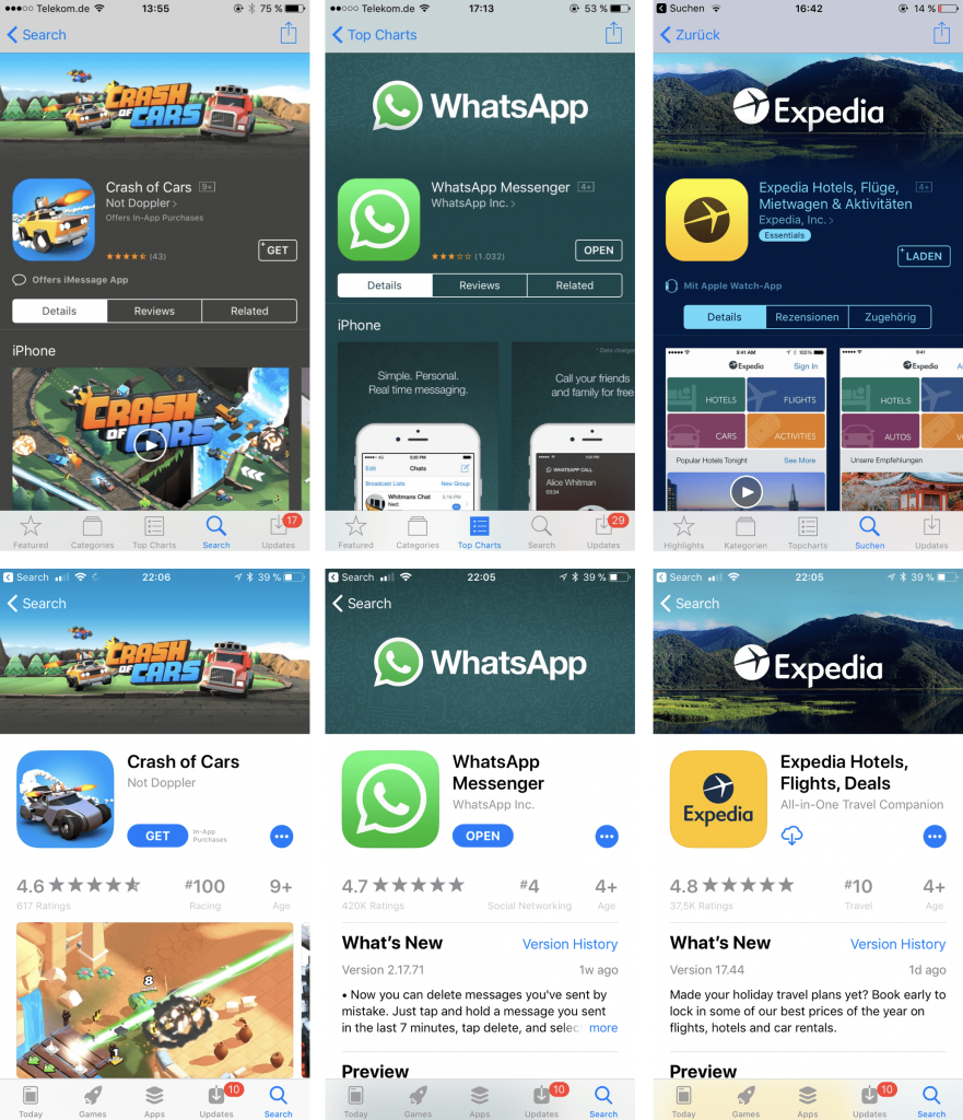 whatsap crash of cars and expedia apps-min