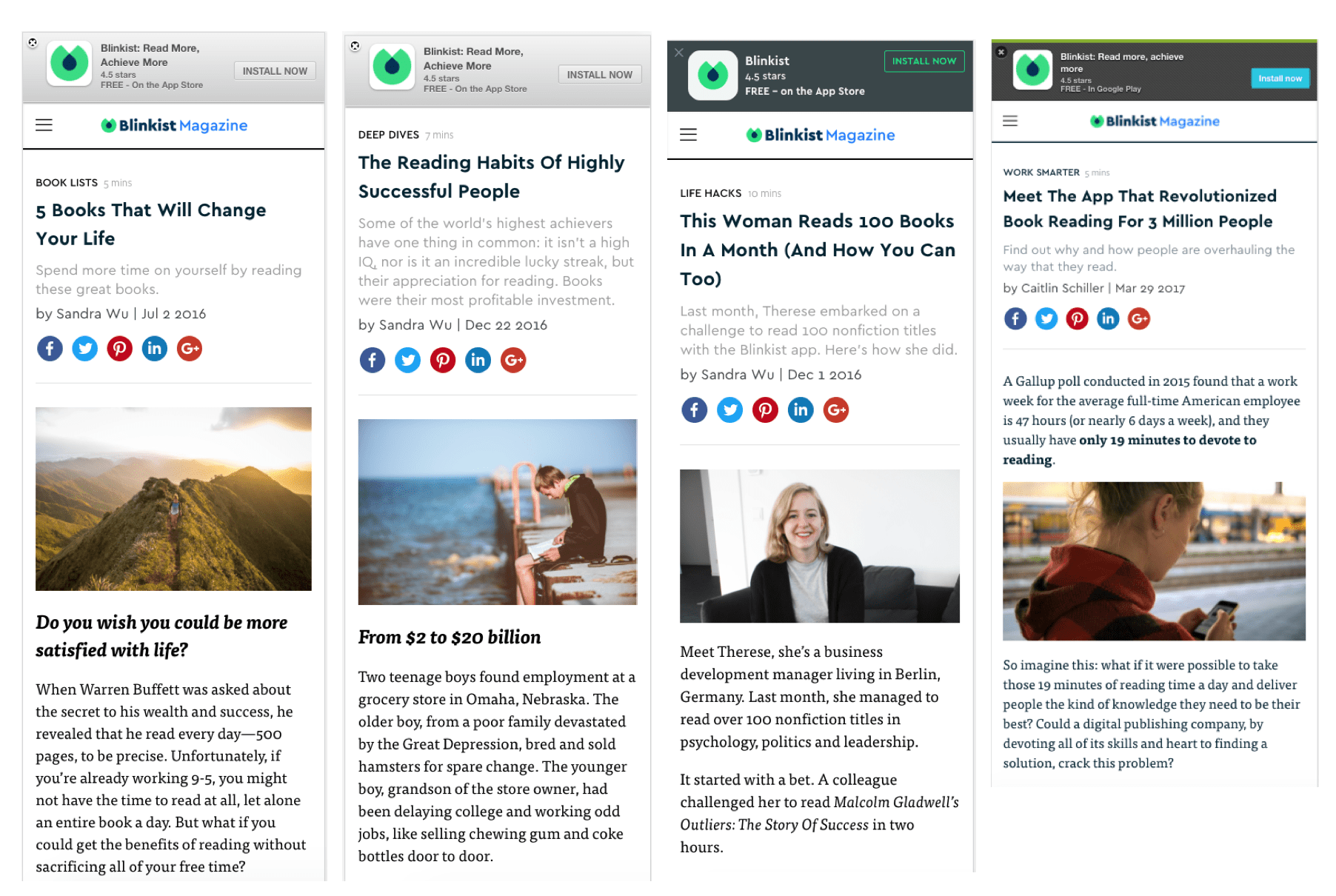 Blinkist's best articles for paid advertising