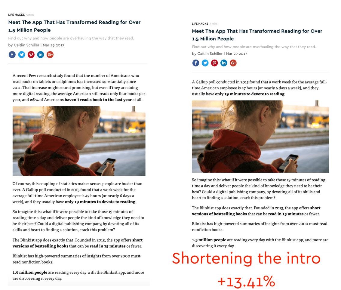 shortening the intro