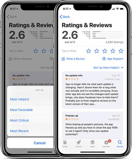 Reviews sorting feature (via Macrumors) -min