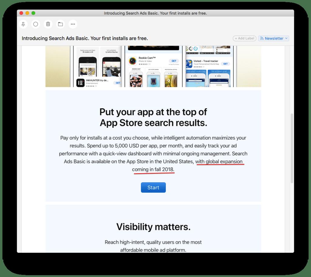 E-mail from Apple via Ilya Kukharev (via ASO Stack Slack)