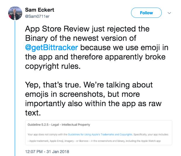 tweet by Sam Eckert