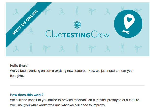 Sample email sent out to Clue users for user testing recruitment