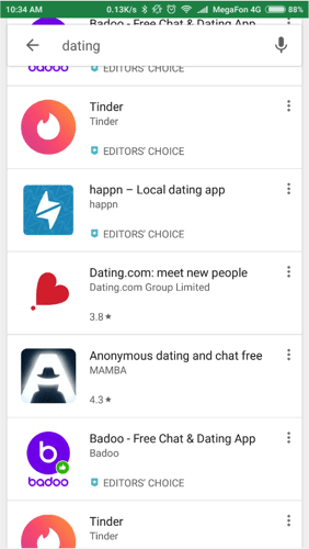 results of dating search on google play