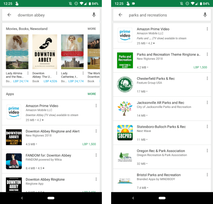 downton abbey and parks and recreations results on google play