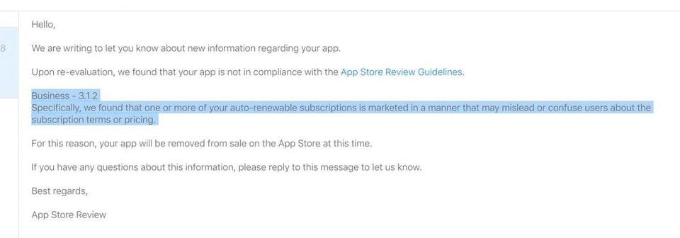 The notice Apple is sending to developers who have potentially problematic subscription flows