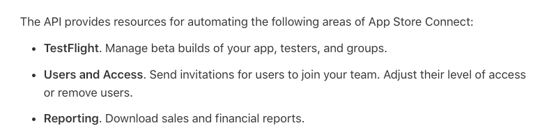 Areas that can be automated with App Store Connect API