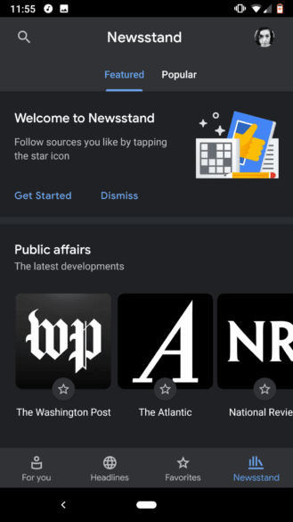 The Newsstand tab in Google News