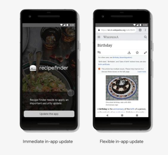 immediate in-app update and flexible in-app update