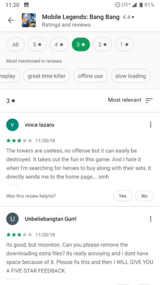 new design for ratings and reviews section with filters