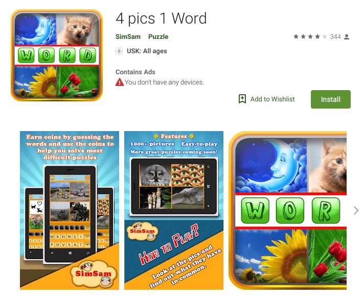 4 pics 1 word app