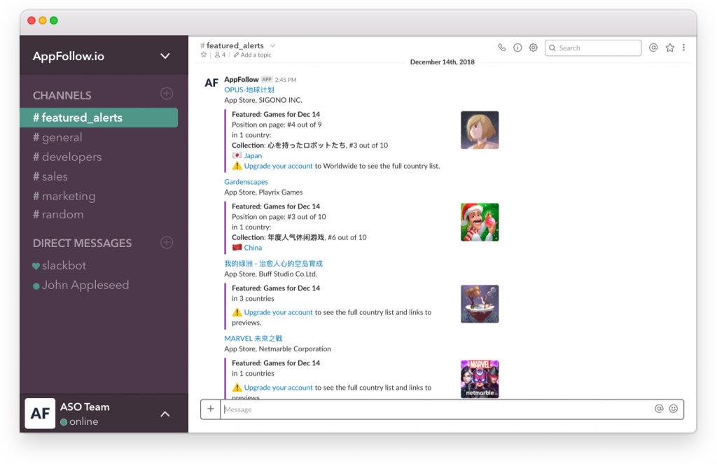 featured alerts channel on slack
