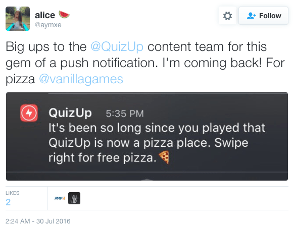 the offer of free pizza in a re-activation push delighted at least some users