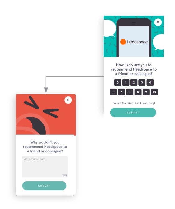 Headspace NPS modal with follow-up detractors survey