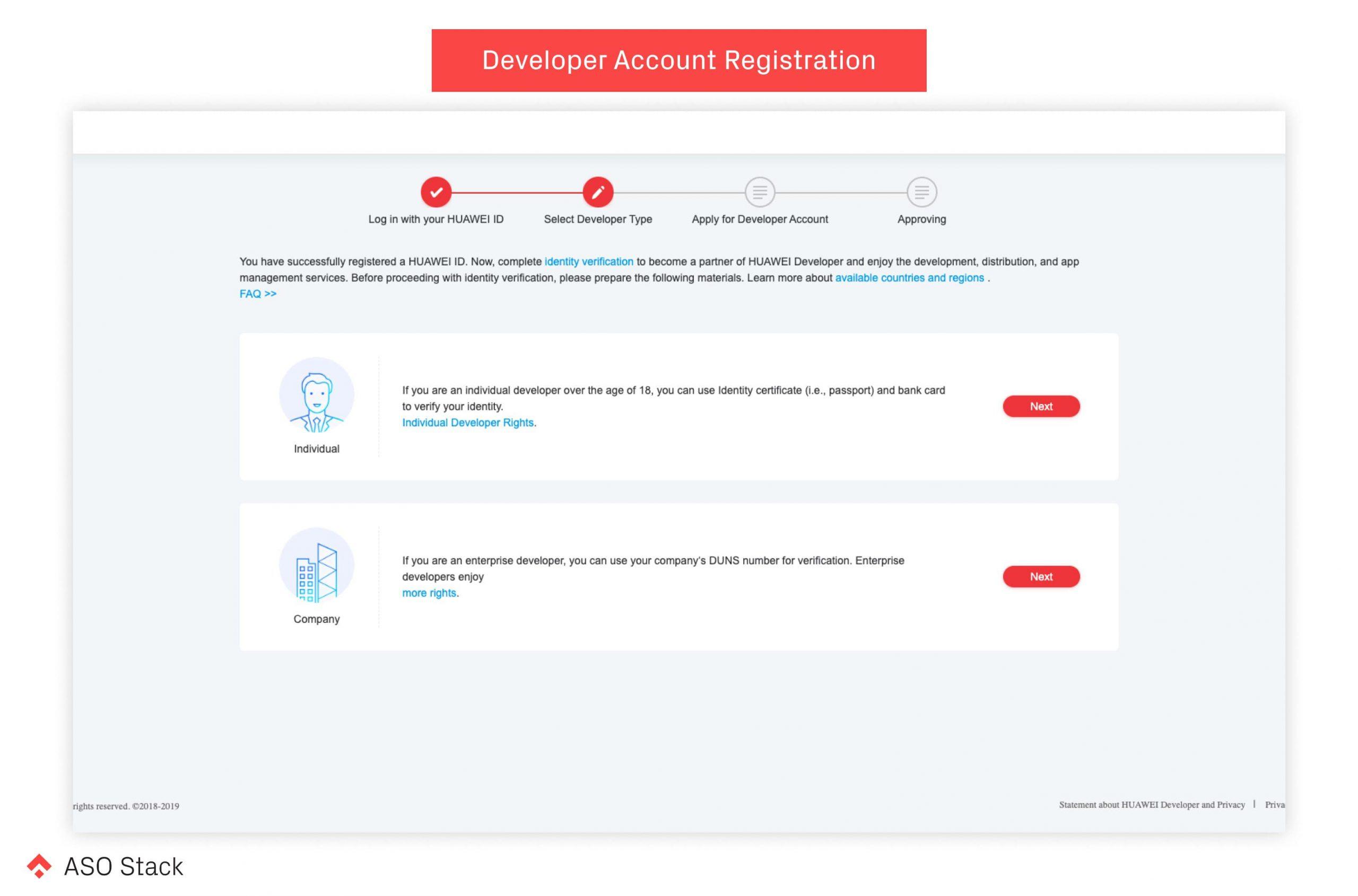 developer account registration aso stack