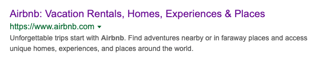 How Airbnb appears in google.com SERP for the query 'airbnb'