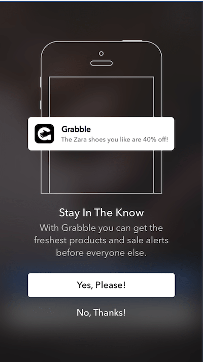 A Push-Priming In-App Message in the Grabble app