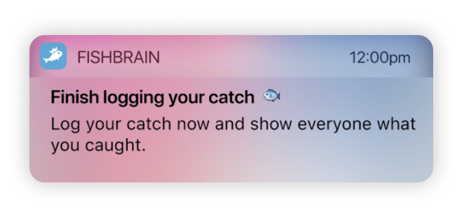 An example of a 'win-back' push campaign from Fishbrain