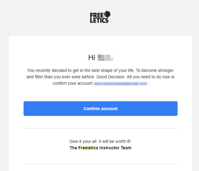 An example of an email double-opt-in (aka verification : account confirmation email) from Freeletics