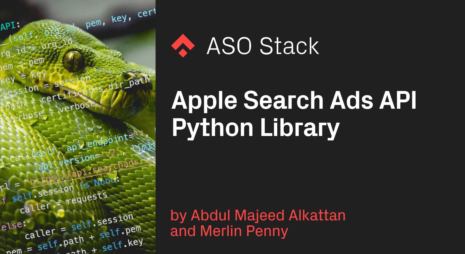 Apple Search Ads API Python Library