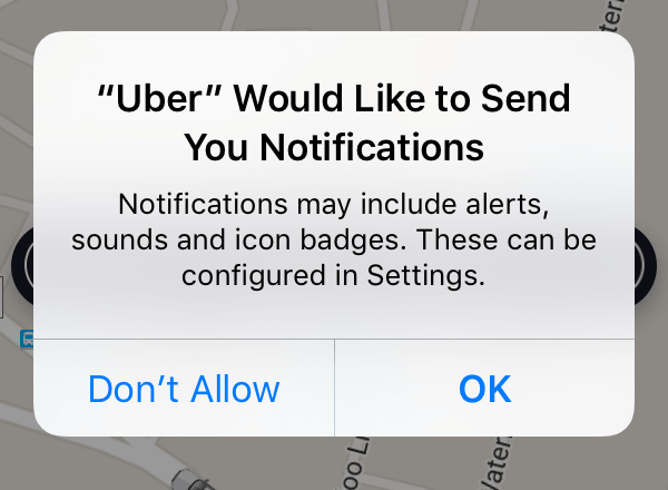 The iOS system prompt (aka APN prompt) for push notification permissions
