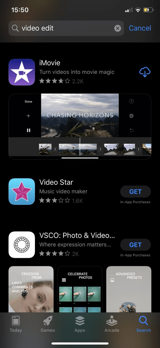 video edit search on app store