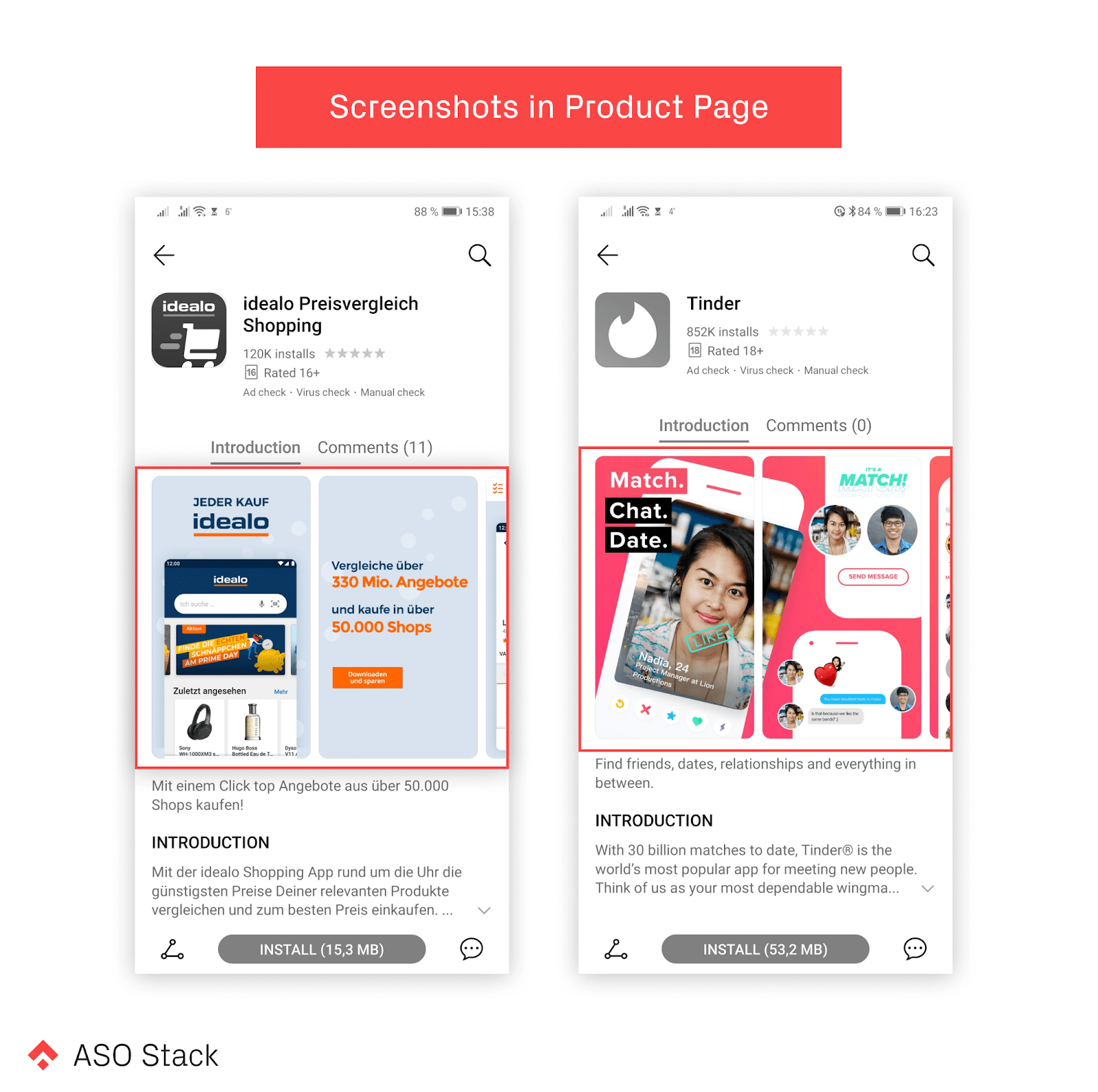 screenshots in product page