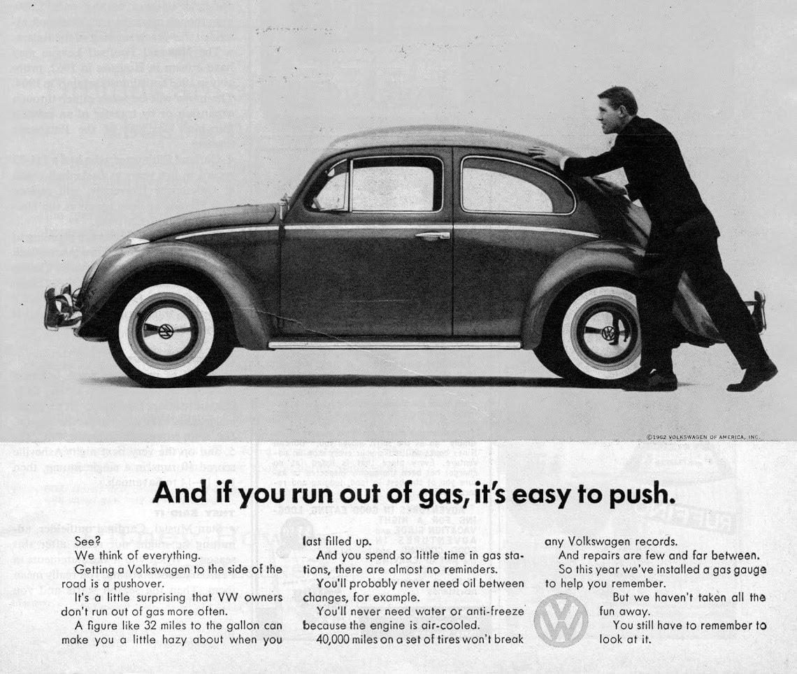 volkswagen - and if you run out of gas, it's easy to push