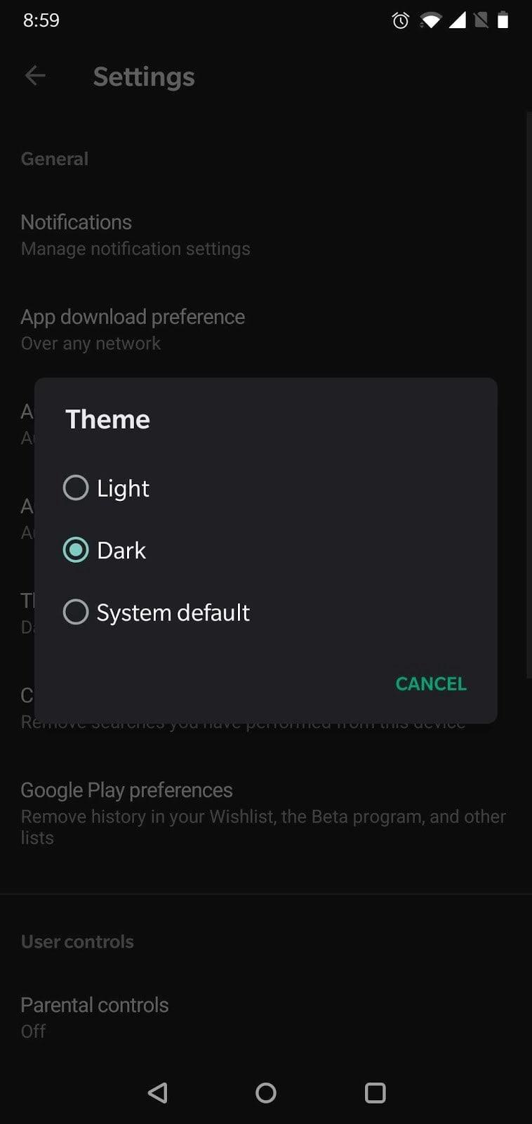 google play settings dark mode theme