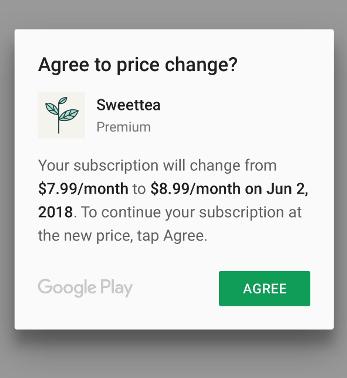 sweettea price change dialog