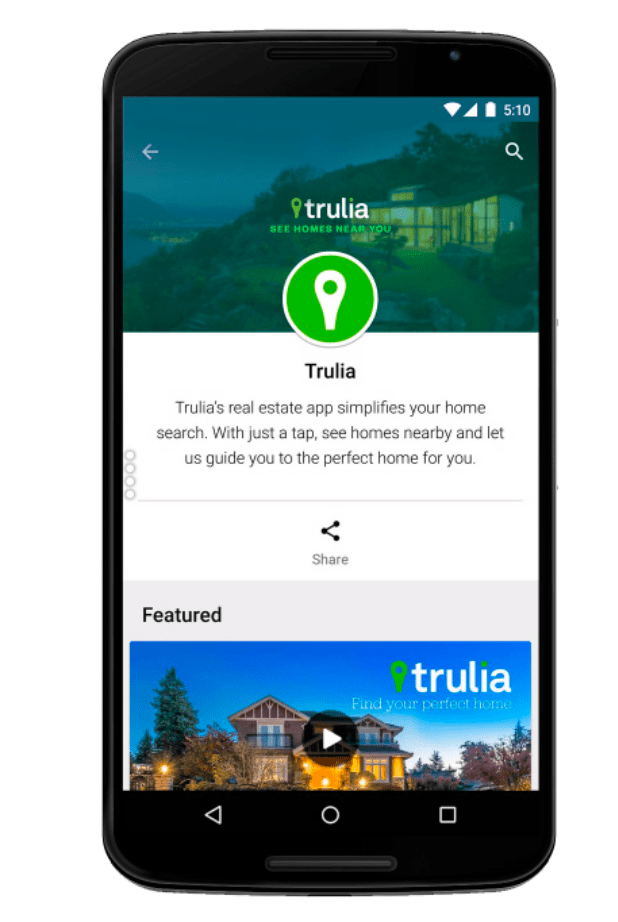 Screenshot of Trulia's developer page via Google Play mobile app
