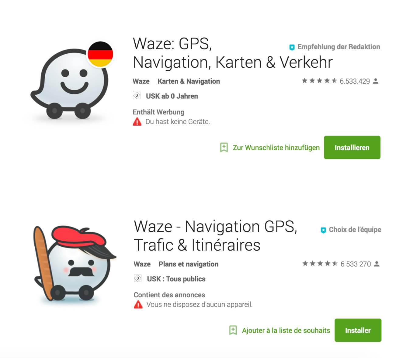 Screenshoss showing Waze adding local relevancy in Germany by adding a flag, but in France going even one step further with a baguette!