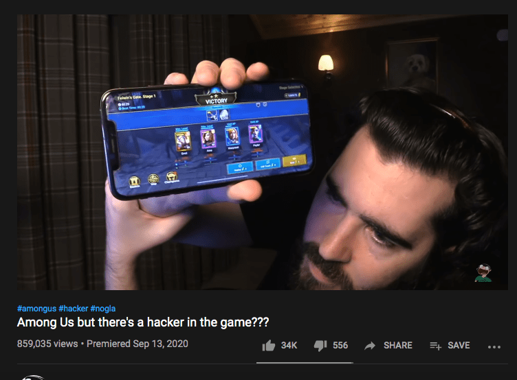 Sponsored video for Raid: Shadow Legends where the YouTuber shows the game on the device
