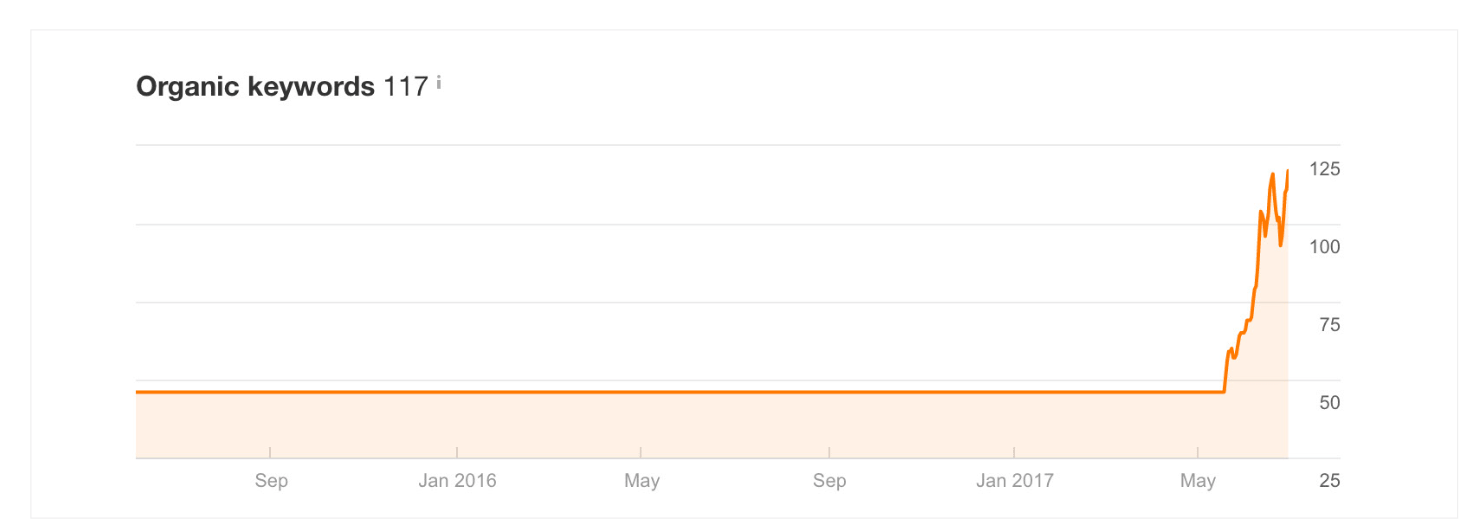 Screenshot showing the number of organic keywords bringing traffic to Fidget Spinner