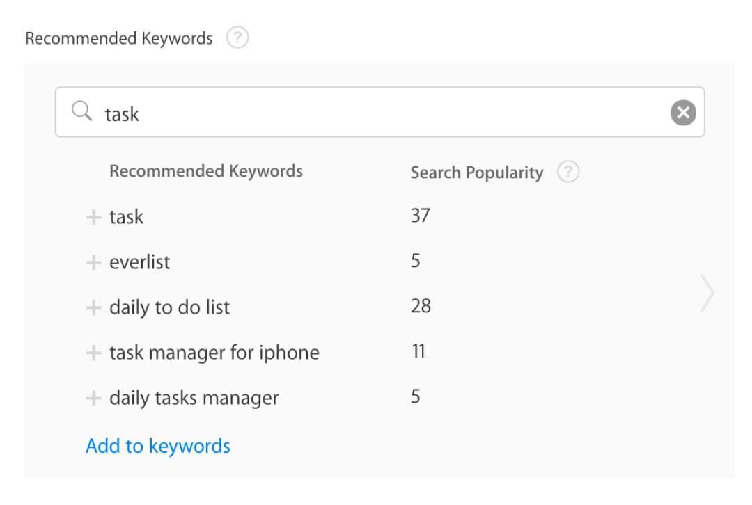 Screenshot showing the search popularity numbers in the Search Ads interface, using a Chrome extension released by the team behind TheTool