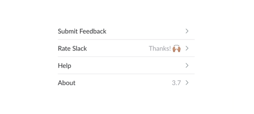 Screenshot showing Slack asking for ratings in a menu, a tactic which only will get very few eyeballs