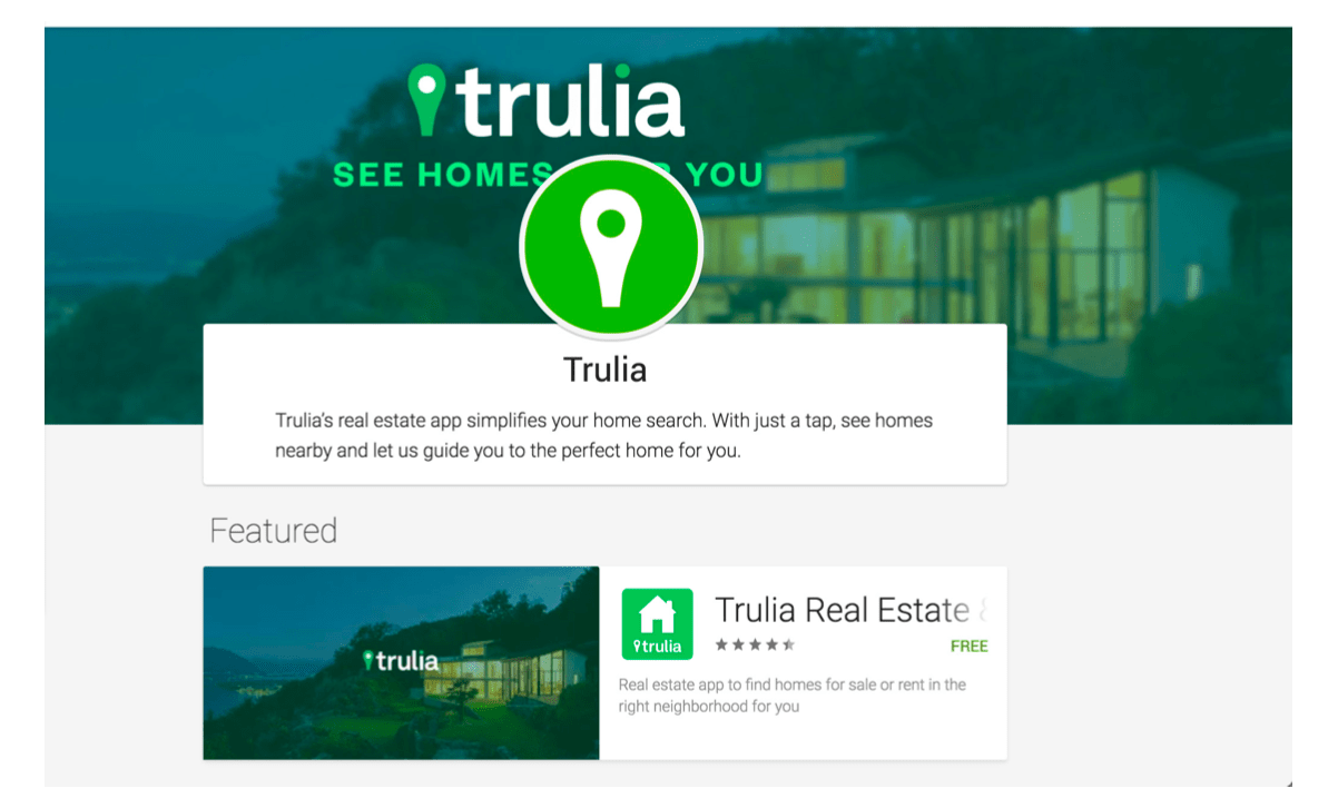 Screenshot of Trulia's developer page via Google Play web app