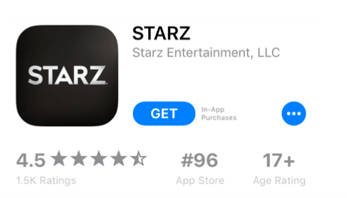 Screenshot: Starz App Store product page showing no keywords in the title