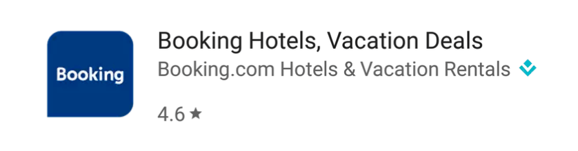 Screenshot: Booking.com Google Play app search result listing