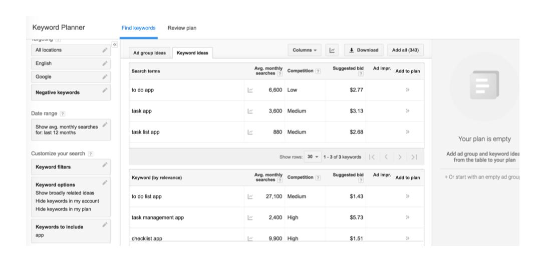 Screenshots: Google Keyword Planner Tool
