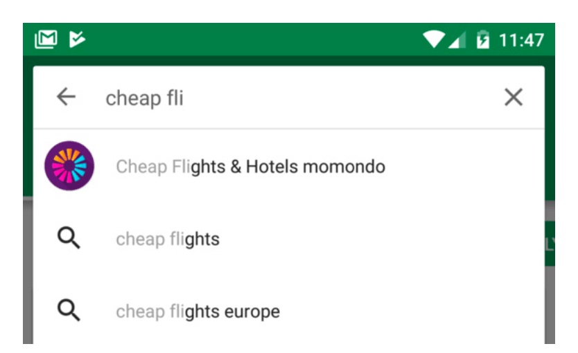 "Screenshot: Google Play keyword search for ""cheap fli"" showing Momondo ranking first with a visual result"
